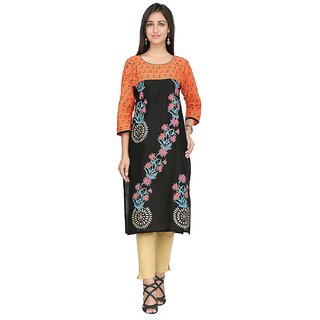 Varkha Fashion Black Cotton Kurta