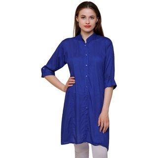 Sejora Cotton Rayon Mandarin Neck 3/4th Sleeve Kurti for Women - Blue