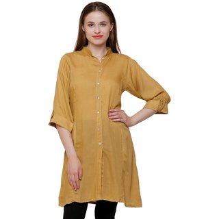 Sejora Cotton Rayon Mandarin Neck 3/4th Sleeve Kurti for Women - Beige