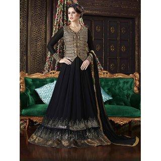 Womaniya Online Attractive Black  Golden Full Length Georgette Anarkali suit
