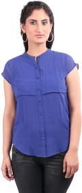Remanika Dark Blue color Polyester fabric Cap Sleeves Shirt for womens