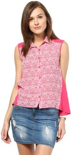 Remanika Pink color Polyester fabric Sleeveless Shirt for womens