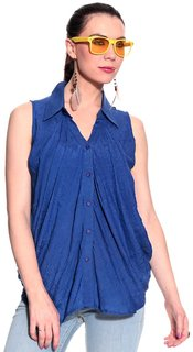 Remanika Blue color Cotton Polyester fabric Sleeveless Shirt for womens