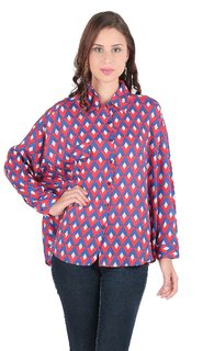 Remanika Blue color Cotton fabric Full Sleeves Shirt for womens