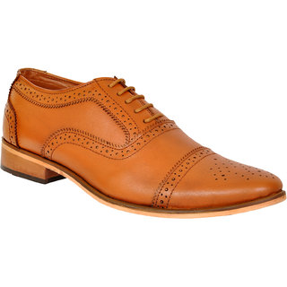 Allen Cooper ACFS-9013 Tan Leather Formal Shoes For Men