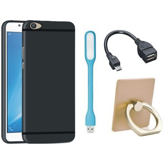 Samsung J5 Prime Stylish Back Cover with Ring Stand Holder, USB LED Light and OTG Cable