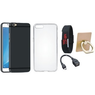 Vivo V5 Soft Silicon Slim Fit Back Cover with Ring Stand Holder, Silicon Back Cover, Digital Watch and OTG Cable