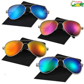 Elligator Unisex Combo Of Reflected Sunglasses (Pack Of 4)