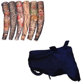 HMS Two wheeler cover UV Resistant  for Hero Xtreme + Tatoo Free Arm Sleeves - Colour BLUE