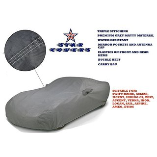 Star Covers - Triple Stitch Premium Grey Matty Car Body Cover with Mirror Pockets, Antenna Cap, Buckle Belt  Carry Bag