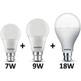 Pack of three wipro LED bulb 7W 9W 18W with two year warranty