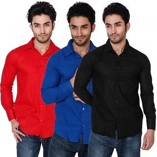 Black Bee Full Sleeves Cut Away Casual Poly-Cotton Shirts For Men Pack Of 3