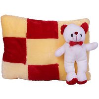 Esoft Red And Cream Shade Multicolour Pillow With Teddy Bear(42 Cm)