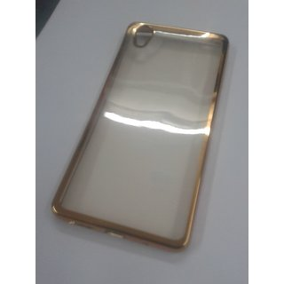 BRETAIL Fancy Golden Transparent Silicon Soft Rubber Back Case Cover For Vivo Y51/Y 51