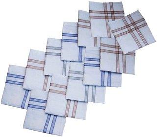 12 Piece 100 Cotton Men's Handkerchiefs (White)