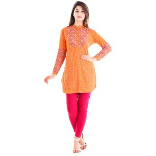 Meia Orange Printed Rayon Kurta