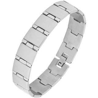 The Jewelbox Geometric Links Brush Matte Daily Wear 316L Surgical Stainless Steel Bracelet For Boys Men