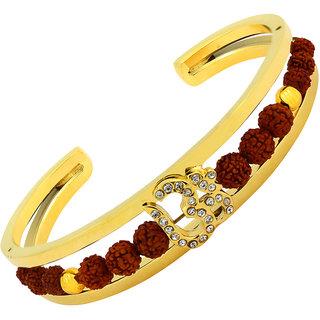 The Jewelbox Rudraksh Cz Gold Plated Om Aum Cuff Traditional Ethnic Kada Bangle Bracelet For Men