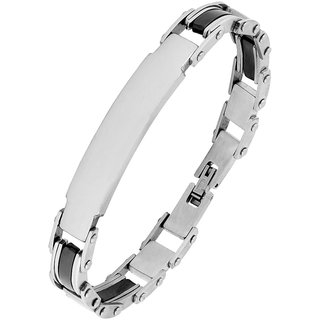Biker Id Solid Black Accents Silver Plated 316L Surgical Stainless Steel Chain Bracelet For Men