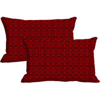 Red Pattern Set Of 2 Pc Digitally Printed Pillow Cover(12x18)