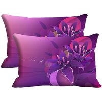 MeSleep Purple Flower Set Of 2 Pc Digitally Printed Pillow Cover(12x18)