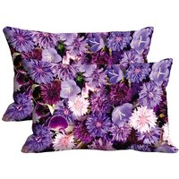 Multiple Purple Flowers Set Of 2 Pc Digitally Printed Pillow Cover(12x18)