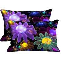 MeSleep  Multi Flower Set Of 2 Pc Digitally Printed Pillow Cover(12x18)