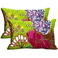 Embroidery Print Set Of 2 Pc Digitally Printed Pillow Cover(12x18)
