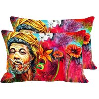 Smoking Villager Set Of 2 Pc Digitally Printed Pillow Cover(12x18)