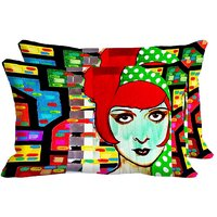 Angry Girl Set Of 2 Pc Digitally Printed Pillow Cover(12x18)