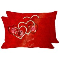 MeSleep Forever Love Set Of 2 Pc Digitally Printed Pillow Cover(12x18)