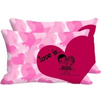 MeSleep  Pink Heart Love Is Set Of 2 Pc Digitally Printed Pillow Cover(12x18)