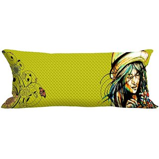meSleep Hat Girl Green Digitally Printed NeckRoll with Filler (9x20)
