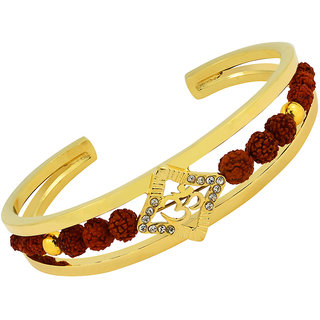 The Jewelbox Rudraksh Cz 22K Gold Plated Aum Square Om Cuff Kada Ethnic Traditional Bracelet For Men