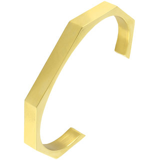 The Jewelbox Handcuff 18K Gold Plated 316L Surgical Stainless Steel Cuff Kada Bangle Bracelet For Men