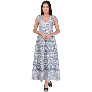 Buy Fabcolors Grey Animal Print Cotton V-Shaped Neck Dress for Women Online  - Get 64% Off 9c90aa884