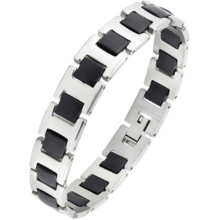 The Jewelbox Black Silver Plated 316L Surgical Stainless Steel Bracelet For Boys Men