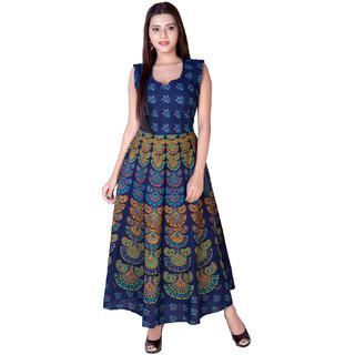 Fabcolors Blue Floral Print Cotton Sweat Heart Neck  Dress for Women