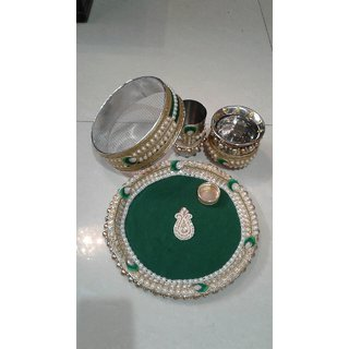 Beautiful pearl karwachauth poojan thali (set of 4)