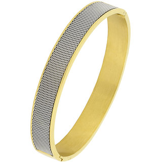 The Jewelbox Mesh 316L Surgical Stainless Steel 18K Gold Platinum Openable Bangle Cuff Bracelet For Men