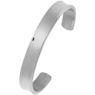 Solid Cuff Rhodium 316L Surgical Stainless Steel Cuff Free Size Kada Bangle Bracelet For Boys Men