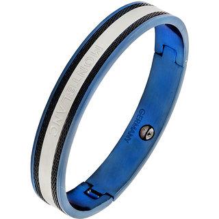 The Jewelbox German Luxury Designer Blue Black 316L Surgical Stainless Steel Kada Bangle Bracelet For Men