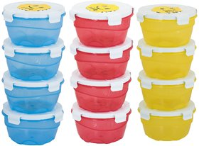 My Tune Air tight Smiley  Pack of 12- 4 Blue,4 Red,4 Yellow Plastic Container 200ML Set.