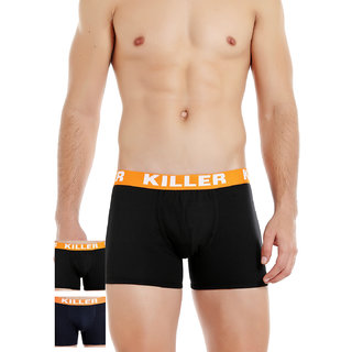 Killer Men's Multicolor Solid 100% Cotton Briefs Pack of 3
