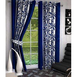 Tejashwi Traders kolaveri Blue WINDOW Curtains set of 2 (4x5)