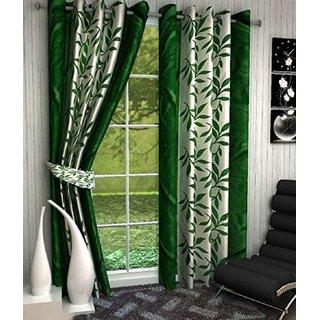 Tejashwi Traders kolaveri Green WINDOW Curtains set of 2 (4x5)