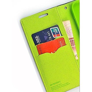 MOBIMON Luxury Mercury Magnetic Lock Diary Wallet Style Flip Cover Case for  OPPO A37 Blue Premium Quality + Tempered Glass