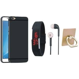 Vivo V3 Max Silicon Anti Slip Back Cover with Ring Stand Holder, Digital Watch and Earphones