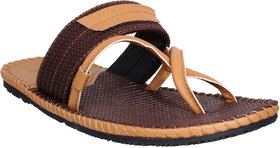 Stylos Men's 5130 Brown And Tan Leather Sandal