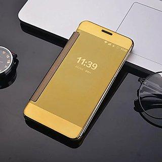 buy popular 9c62d 03b3e Samsung Galaxy J7 Pro Luxury Clear View Mirror Smart View Case Flip Cover  For Samsung Galaxy J7 Pro - (Golden)